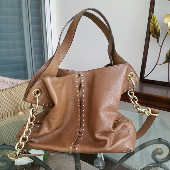 MICHAEL Michael Kors Handbags - Michael Kors Brown Leather Gold Study Crossbody